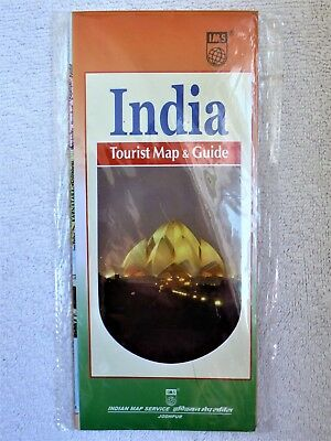 India Map Rip-Proof Waterproof Plastic Coated Tourist Map-Brand New
