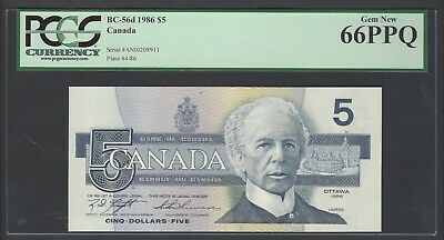 Canada  5 Dollars 1986 BC-56d Uncirculated Graded 66