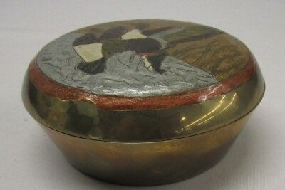 Vintage Brass Bowl/Dish with Decorative Enameled Lid