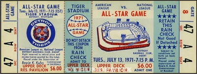 1 1971 ALL-STAR GAME VINTAGE UNUSED FULL TICKET BASEBALL reproduction laminated!
