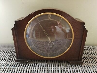 VINTAGE SMITHS  WOODEN  MANTEL CLOCK, 8 day WORKING 1950'S 60'S