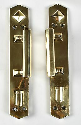 Antique Door Knobs Plates Brass 2 Piece Set