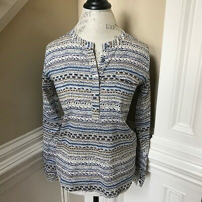 Joes Jeans Shirt Top Womens Small Aimee Woven Hi Lo Blouse Tibet Stripe Popover