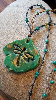 """Dragonfly Jewelry Necklace  26"""" UNIQUE Clay Hand Painted Spring Nature Summer"""