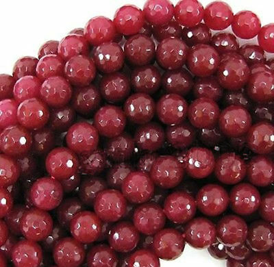 """6/8/10mm Natural Faceted Brazil Red Ruby Gemstone Round Loose Beads 15"""" AAA"""