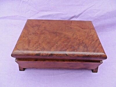 Vintage Art Deco Burr Walnut Hinged Wooden Box With Fitted Interior Lovely Condi
