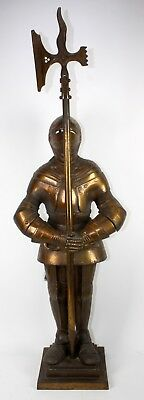 Vintage Medieval Suit Of Armor Knight Metal Fireplace Tool Stand