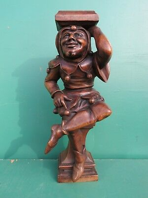 Antique Beech wood Carving of a SEATED JESTER circa 1890 Flemmish