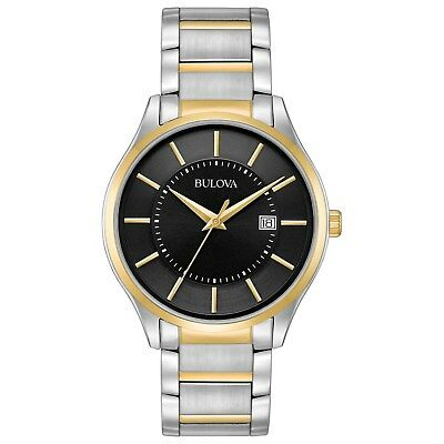 Bulova Men's Quartz Black Dial Two-Tone Bracelet 40mm Watch 98B290