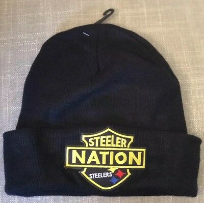 Pittsburgh Steelers Embroidered Patch Beanie Toboggan Cap Hat Ben Terrible  NEW 8b5bf84c2