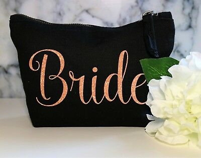 Bride Copper Glitter Make Up Cosmetic Bag Sister Wedding Gift Bridesmaid Groom