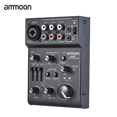 High Quality ammoon AGE03 5-Channel Mini Mic-Line Mixing Console Mixer with USB