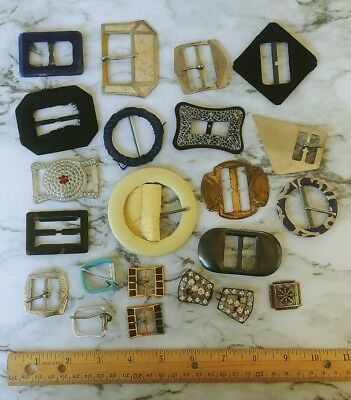 Mixed Lot 21 Vintage Antique Belt Buckles Metal Leather Fabric Brass Sewing LOT