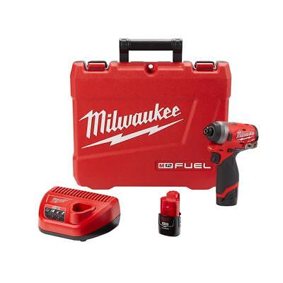 Milwaukee 2553-22 M12 FUEL 12-Volt 1/4 in. Hex Impact Driver Kit 2-Batt, Charge