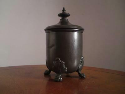 19th century pewter tea caddy / tobacco jar & cover pot & lid finial & four feet