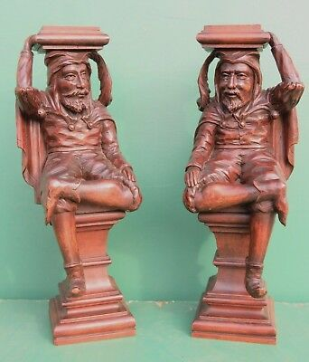 Lovely pair of antique BEECH WOOD CARVINGS OF JESTERS circa 1890 Flemish