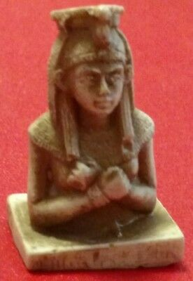 Egyptian Statue Queen Cleopatra, Natural Carved Stone 45 mm