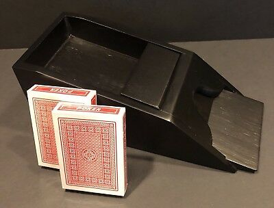 Black Wooden Casino Dealers Shoe Restoration Hardware 4 Deck Sealed Cards