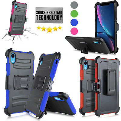 """ONLY for iPhone XR 2018 6.1"""" Swivel Belt Clip Holster Heavy Duty Dual Armor Case"""