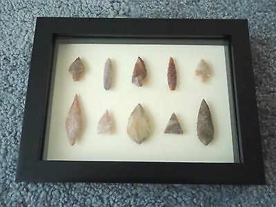 Neolithic Arrowheads in 3D Picture Frame, Authentic Artifacts 4000BC (0182)