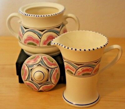 Honiton Devon Pottery - Vintage Eastern Scroll Pattern - Jug & Covered Bowl