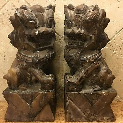 8 Inch Fu Foo Dog Lion Statues - Set of Two - Cast Resin Chinese Decor
