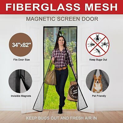 Magnetic Screen Door with Durable Fiberglass Mesh Heavy Duty Reinforced Mesh