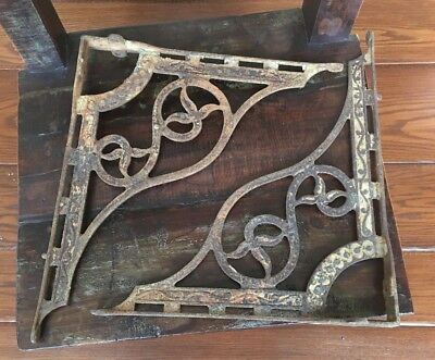 Rare HUGE Antique Cast Iron Brackets Old Vintage Hardware Ornate Periodic Design