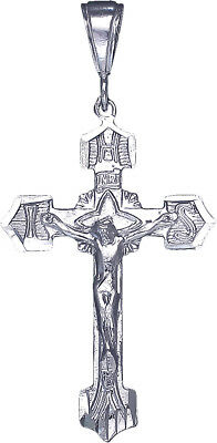 """925 Sterling Silver Crucifix Cross with Jesus Pendant Necklace 24"""" Figaro Chain"""
