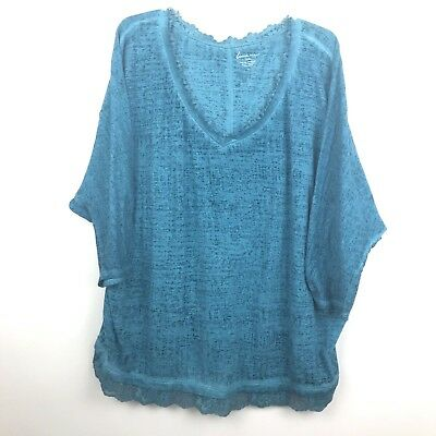 Lane Bryant Womens Size 22/24 Blue 3/4 Sleeve Scalloped Hem Burn Out Blouse Top