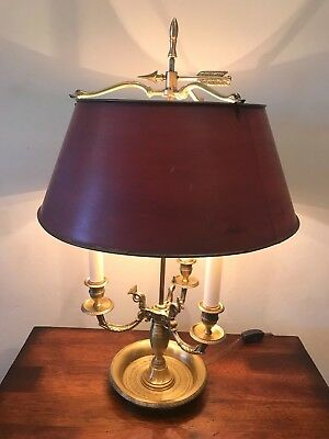 Vintage Bouillotte Brass Table Lamp French Empire Style with Adjustable Red Tole
