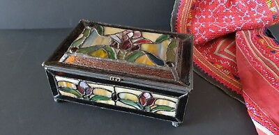 Old Leadlight Tiffany Style Glass Box …beautiful display / accent piece