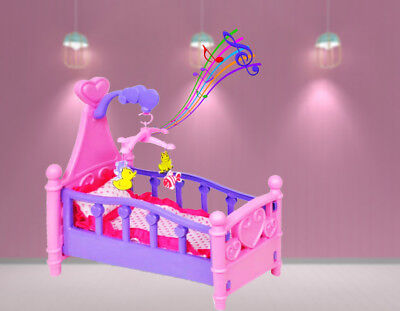 Pink Dolls Rocking Bedding Cradle Toy Crib Cot Girls With Mobile Blanket Pillow