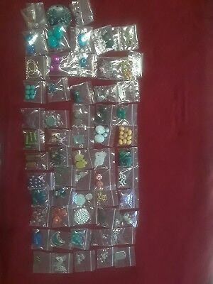Huge 58 Bag Lot Of Assorted Mixed Beads Jewelry Making Supplies Crafts
