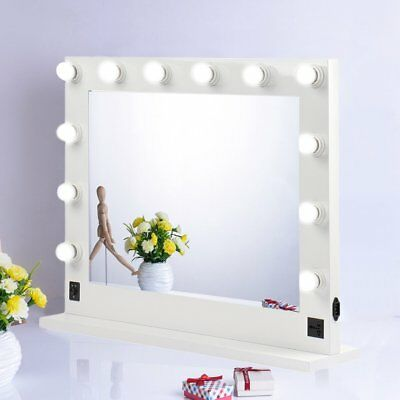 Chende White Hollywood Makeup Vanity Mirror w/ Light Stage Large Beauty Mirror A