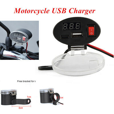 DC 3V - 12V ABS Multi-function Motorcycle Dual USB Charger Kit w/Switch & Mounts