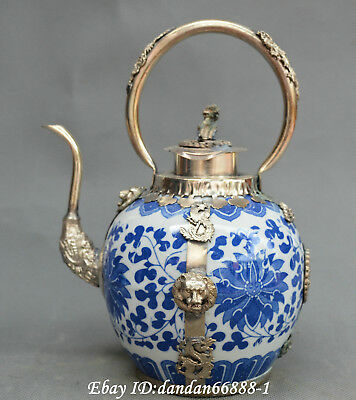 Chinese Porcelain inlay Bronze dragon phoenix lion butterfly teapot wine pot
