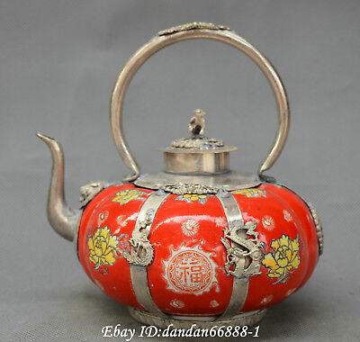 Chinese Porcelain inlay Bronze Rich flower dragon phoenix monkey teapot wine pot