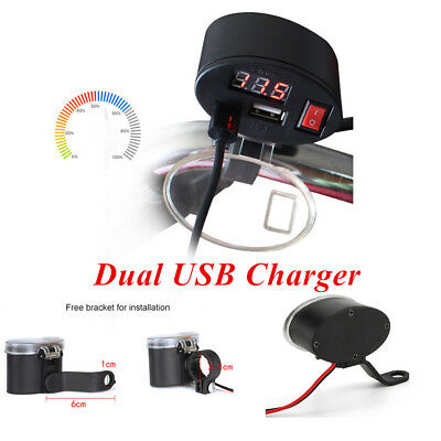 Multi-function Motorcycle Dual USB Charger Kit w/Switch & Mounts Fit for all 12V