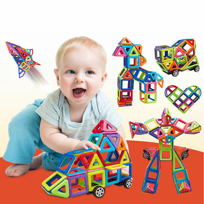 76Pcs DIY 3D Magnetic Blocks Multi Color Construction Building Kids Toys Puzzle