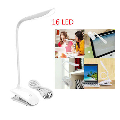 USB Rechargeable LED Light Dimmable Clip-On Desk Table Reading Book Lamp White