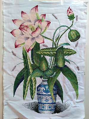 """Completed Finished Cross Stitch Pink Lotus with Vase  16.5"""" x 24.5"""""""