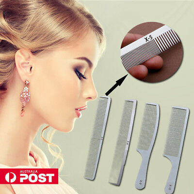 Professional Salon Barber Hair Comb Stainless Steel Ultra-Thin Anti-Static AU