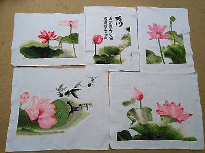 Completed Finished Cross Stitch Lotus 5/set