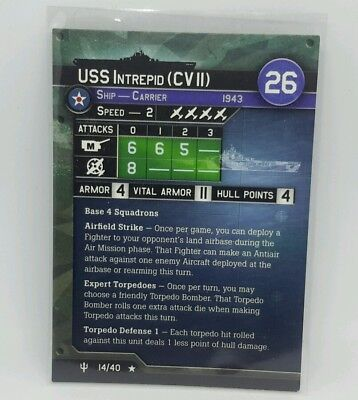 """Axis and Allies """"Flank Speed"""" USS Intrepid (CV II) (14/40) STAT CARD ONLY"""