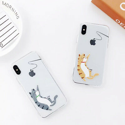 Jumping Cute Cat Silicone Phone Case Cover For iPhone X 8 7 6 Plus XS XR Max