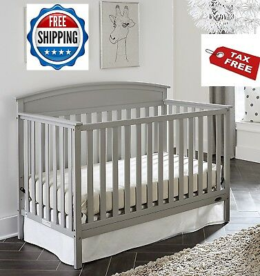 Convertible Crib Set 5 In 1 Grey Graco Nursery Baby Toddler Full Size Bed Daybed