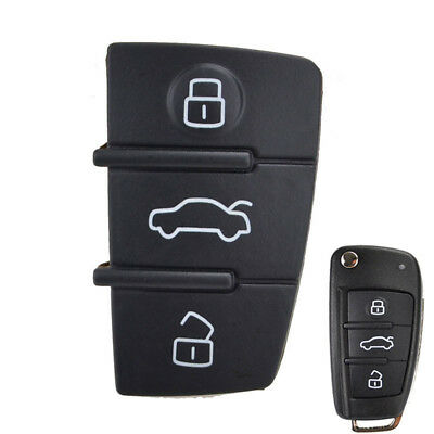 3 Button Rubber Key Pad For Audi A1 S1 A3 A4 A5 A6 A8 Q3 Remote Flip Shell FOB