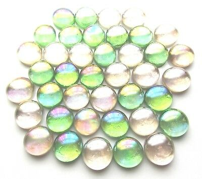 40 x Iridescent Shades of Opal Mosaic Lead Light Art Glass Pebble Gem Stones