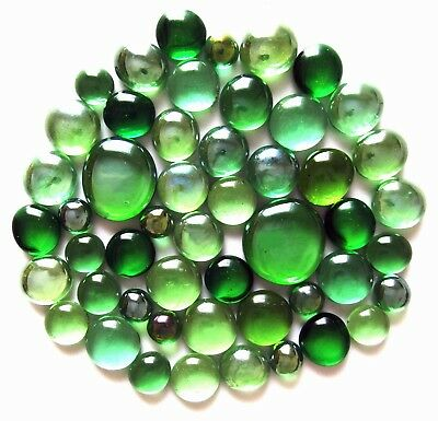 50 x Shades of Green - Art Glass Mosaic Craft Pebble Gem Stones - Assorted Sizes